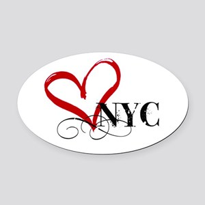 LOVE NYC FANCY Oval Car Magnet