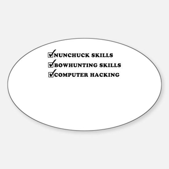 Nunchuck Skills ~ Oval Decal