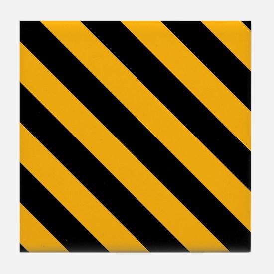 Diagonal Stripes: Black & Gold Tile Coaster