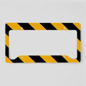 Diagonal Stripes: Black & Gol License Plate Holder