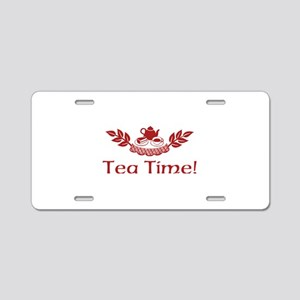 Tea Time Aluminum License Plate