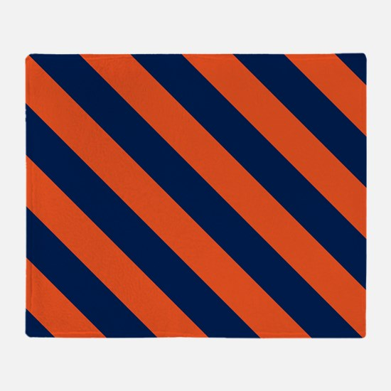 Diagonal Stripes: Orange & Navy Blue Throw Blanket