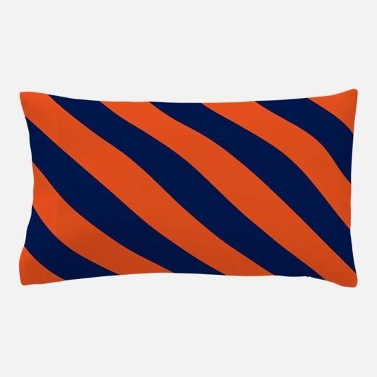 Diagonal Stripes: Orange & Navy Blue Pillow Case
