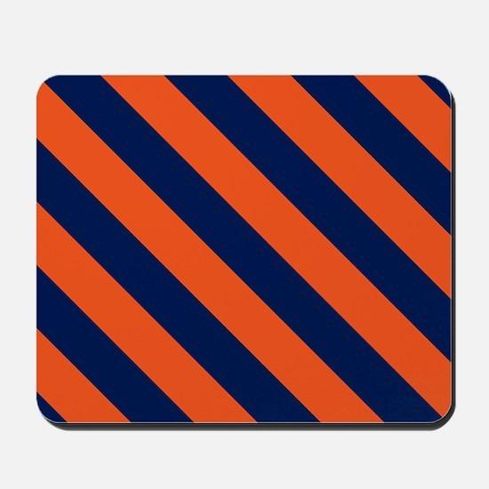Diagonal Stripes: Orange & Navy Blue Mousepad