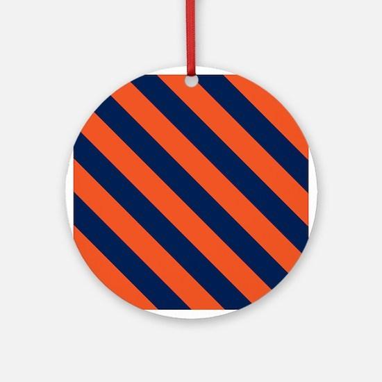 Diagonal Stripes: Orange & Navy Blu Round Ornament