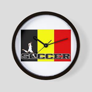 Belgium Flag Soccer Wall Clock