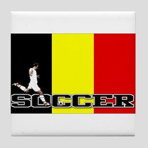 Belgium Flag Soccer Tile Coaster