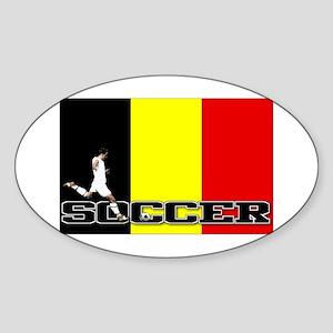 Belgium Flag Soccer Oval Sticker