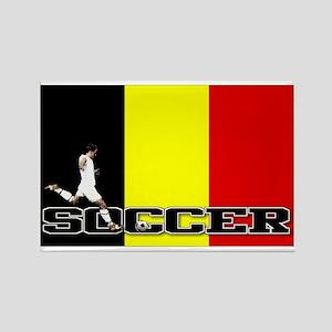 Belgium Flag Soccer Rectangle Magnet