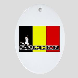 Belgium Flag Soccer Oval Ornament