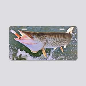 Fish on musky Aluminum License Plate