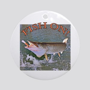 Fish on musky Round Ornament