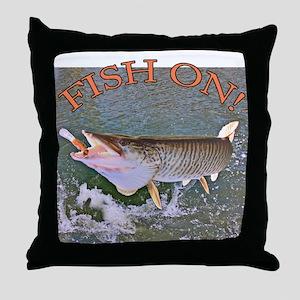 Fish on musky Throw Pillow
