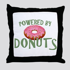 Powered By Donuts Throw Pillow