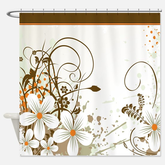 Graphic White Daisies with Brown Branches and Oran