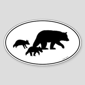Bear Silhouettes Sticker (Oval)