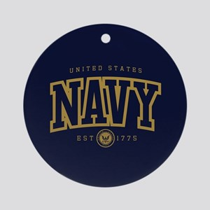 United States Navy Athletic Round Ornament