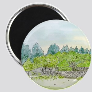 Trees in Park with Cornwall Oval Watercolor Magnet