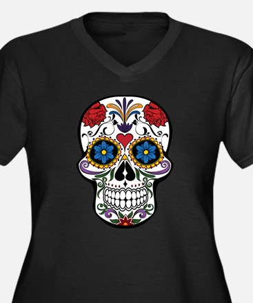 Colorful Floral Sugar Skull Plus Size T-Shirt