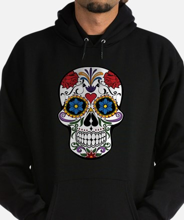 Colorful Floral Sugar Skull Hoodie (dark)