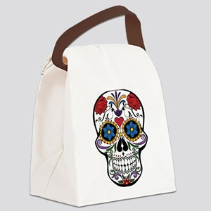 Colorful Floral Sugar Skull Canvas Lunch Bag