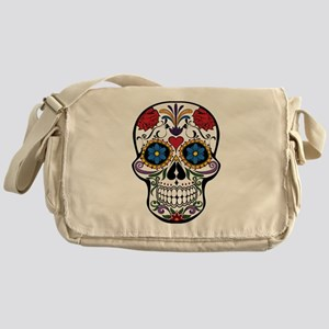 Colorful Floral Sugar Skull Messenger Bag