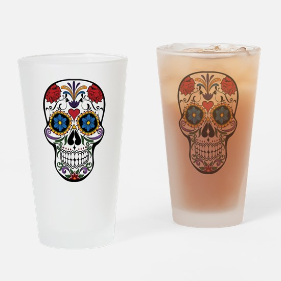 Colorful Floral Sugar Skull Drinking Glass