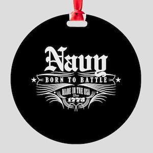 U.S. Navy Born to Battle Round Ornament
