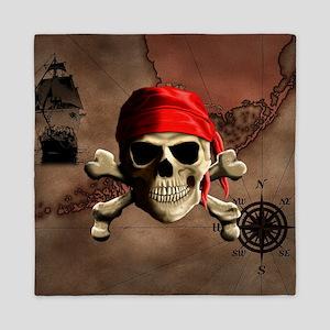 The Jolly Roger Pirate Map Queen Duvet