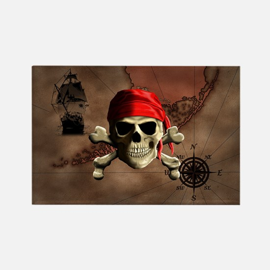 The Jolly Roger Pirate Map Magnets