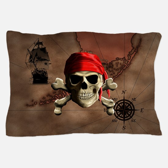 The Jolly Roger Pirate Map Pillow Case