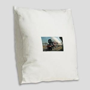 Steam Train Burlap Throw Pillow