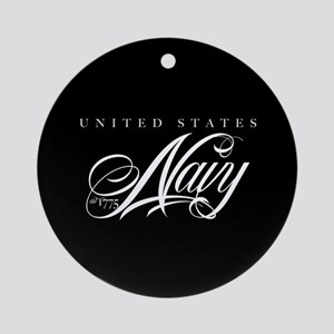 United States Navy Cursive Round Ornament