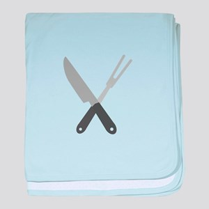 knife and fork baby blanket