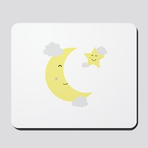 Moon and Star Mousepad