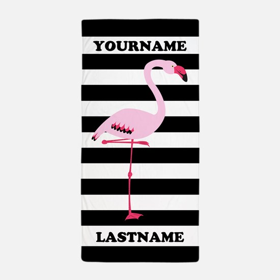 Monogram Flamingo Black White Stripes Beach Towel