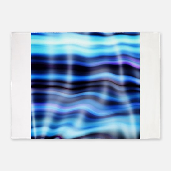blue water ripples ocean beach deco 5'x7'Area Rug