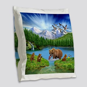 Great Bear Wilderness Burlap Throw Pillow