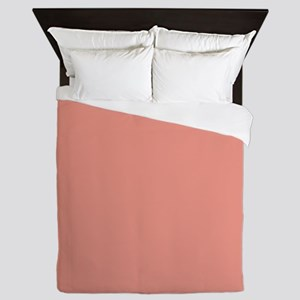 abstract coral pink peach Queen Duvet