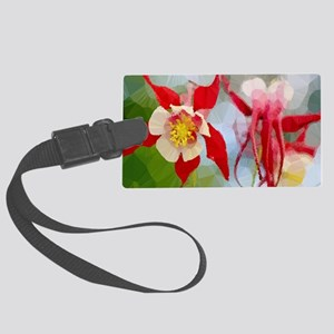 Red White Columbine Low Poly Luggage Tag