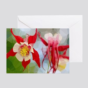 Red White Columbine Low Poly Greeting Cards