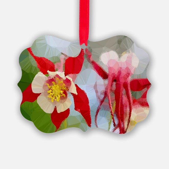 Red White Columbine Low Poly Ornament
