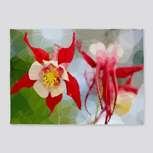 Red White Columbine Low Poly 5'x7'Area Rug