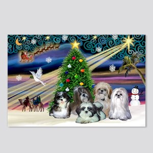 Xmas Magic / 5 Shih Tzus Postcards (Package of 8)