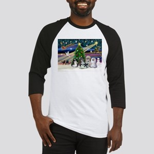Xmas Magic / 5 Shih Tzus Baseball Jersey