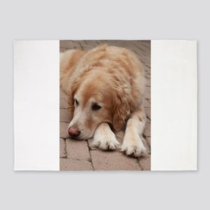Nala the golden retriever reclining 5'x7'Area Rug