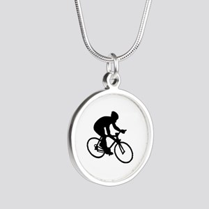 Cycling race Silver Round Necklace