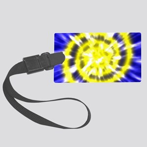 Blue and Bright Yellow Tie Dye Large Luggage Tag