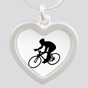 Cycling race Silver Heart Necklace