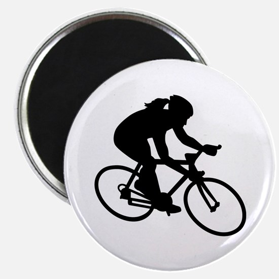 """Cycling woman girl 2.25"""" Magnet (10 pack)"""
